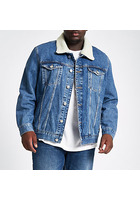 River Island Big & Tall - Veste En Denim Bleue Avec Doublure Imitation Peau De Mouton