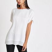 River Island T-shirt Blanc à Ourlet Transparent