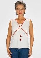Blouse Détails Ethniques Blanc Femme Taille 7 - Scottage