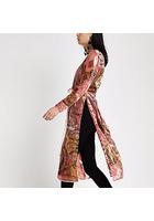 River Island Kimono Imprimé Rose Noué à La Taille