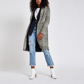 River Island Manteau Long Croisé à Carreaux Bleu Marine