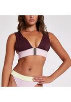 River Island Bikini Triangle Violet échancré à Imprimé Colour Block