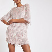 River Island Robe Trapèze Rose Clair à Sequins Et Franges