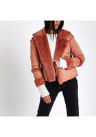 River Island Veste Imitation Peau De Mouton Rose