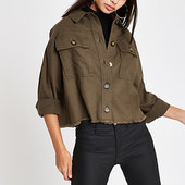 River Island Khaki Cropped Army Shacket