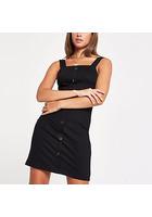 River Island Mini-robe Moulante Noire Boutonnée