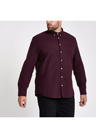 River Island Big And Tall - Chemise Bordeaux à Manches Longues