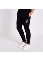 River Island Pantalon De Jogging Slim Noir à Inscription Brodée R95