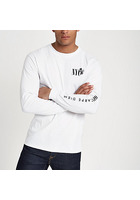 River Island T-shirt Slim « Nyc » Blanc à Manches Longues