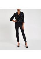 River Island Pantalon Skinny Disco Noir à Taille Haute