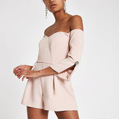 River Island Combi-short Façon Smoking Rose à Col Bardot