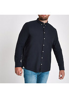 River Island Big And Tall - Chemise Oxford Manches Longues Bleu Marine