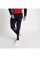 River Island Gola - Pantalon De Jogging Bleu Marine à Empiècement Et Imprimé Logo