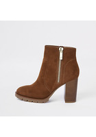 River Island Bottines En Daim Marron à Talon Carré Et Zip Latéral