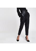 River Island Pantalon En Cuir Synthétique Noir à Taille Haute Ceinturée