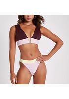 River Island Bas De Bikini échancré Violet à Imprimé Colour Block