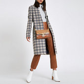 River Island Manteau Long En Maille à Carreaux Crème