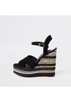 River Island Chaussures à Talons Compensés Noires à Chaîne Et Strass