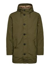 Selected Polyester Recyclé À Capuche Manteau Men Green