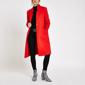 River Island Manteau Long Rouge Sans Col