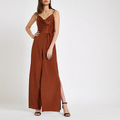 River Island Brown Cowl Neck Wide Leg Jumpsuit
