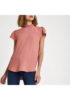 River Island Top Rose à Encolure à Volants
