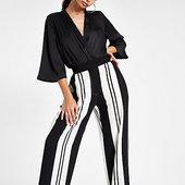 River Island Pantalon Large Noir à Rayures Contrastantes
