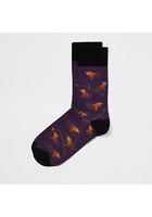 River Island Chaussettes Violettes à Imprimé Singe