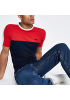 River Island T-shirt Ajusté Bleu Marine Colour Block