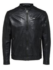 Selected Agneau - Veste En Cuir Men Black