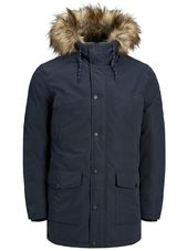 Jack & Jones Capuche Doublée De Fourrure Synthétique Parka Men Blue