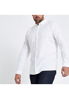 River Island Big & Tall - Chemise Oxford Manches Longues Blanche