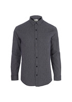 River Island Only & Sons - Chemise Manches Longues En Jacquard Bleu Marine