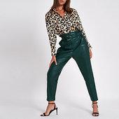 River Island Pantalon Fuselé Vert Foncé à Taille Haute Ceinturée