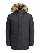 Jack & Jones Capuche Doublée De Fourrure Synthétique Parka Men Grey