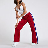 River Island Pantalon De Jogging En Jersey Rouge à Bande Latérale