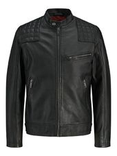 Jack & Jones Agneau Veste En Cuir Men Black