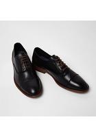 River Island Chaussures Oxford En Cuir Noir à Lacets Avec Bout Rapporté