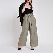 River Island Plus - Pantalon Large à Carreaux Gris Avec Taille Haute Ceinturée