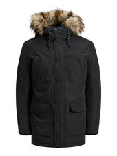 Jack & Jones Capuche Doublée De Fourrure Synthétique Parka Men Black