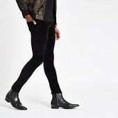 River Island Danny - Pantalon Super Skinny En Velours Noir