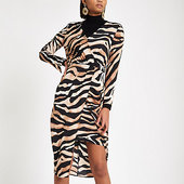 River Island Robe Portefeuille Mi-longue Imprimé Tigre Marron