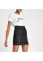 River Island Mini-jupe Taille Haute En Denim Enduit Noir