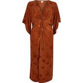 River Island Robe Mi-longue Orange à Manches Courtes Nouée Devant