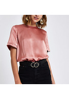 River Island T-shirt Ample Rose Zippé Au Dos