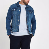 River Island Big & Tall - Veste En Jean Bleue