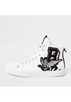 River Island Baskets Montantes Blanches Brodées