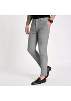 River Island Pantalon Ultra Skinny à Carreaux Gris