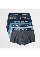 River Island Big & Tall - Lot De Boxers Bleus Taille Basse