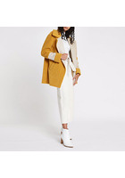River Island Manteau Imitation Peau De Mouton Jaune à Empiècements